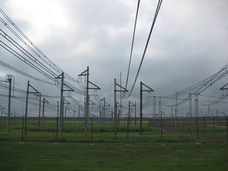 Open wire transmission lines to a multitude of antennas.