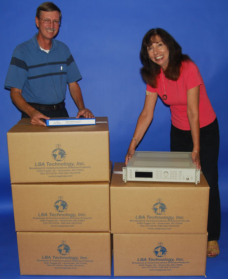 LBA staffers Betty Perez and Dick Hanson prepare to dispatch a shipment of Schomandl frequency synthesizers to the US Navy.