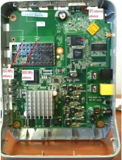 Figure 2: Interior View of an AT&T FemtoCell showing GPS, 850 MHz and 1900 MHz antenna ports