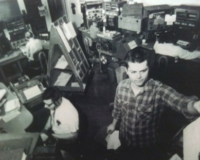 KPH Operating Room in 1964 showing Manager Jack Martini (standing) and Bill Maloney (operator sitting)