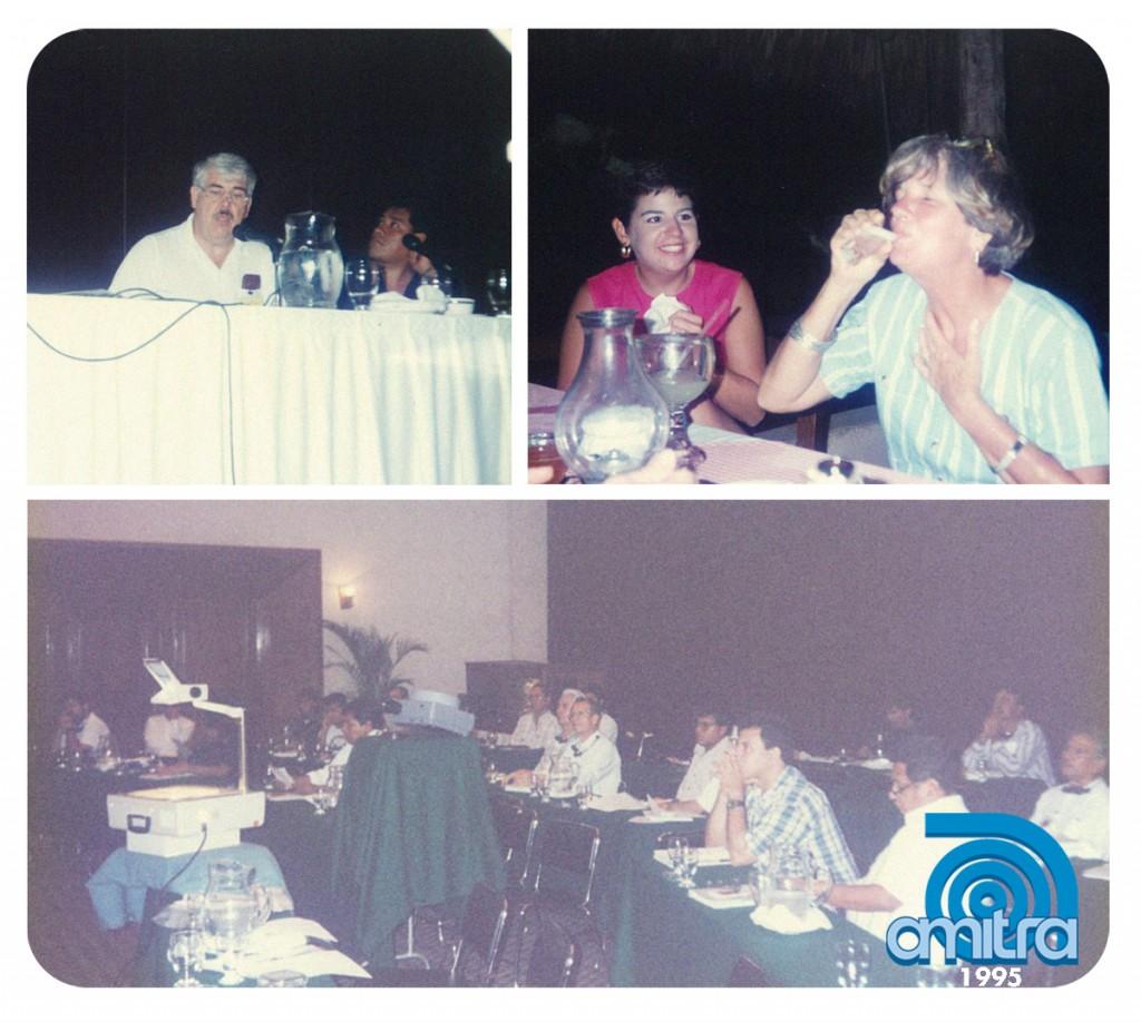 Lawrence, Libby y Jennifer Behr; Aurelio Jasso y un grupo de ingenieros disfrutando de Amitra 1995