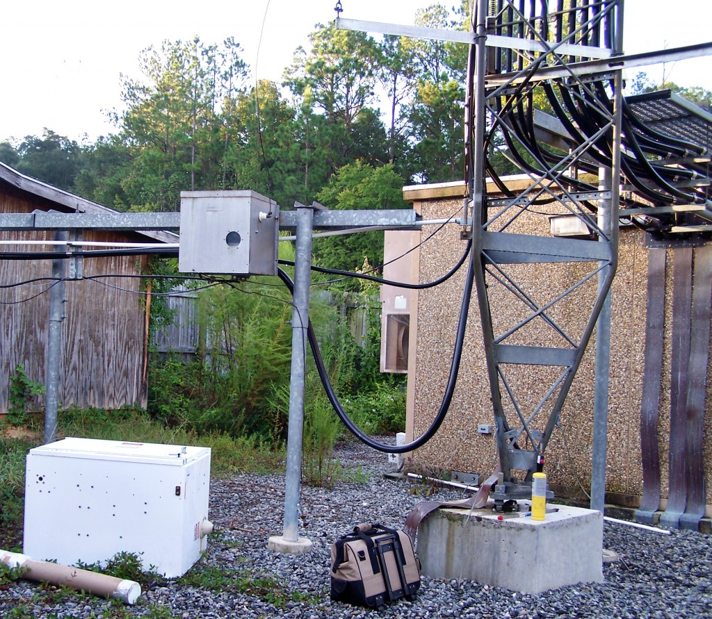 Before AM overhaul – one FM and lot's of cell antenna coaxes – cellular shelter on right