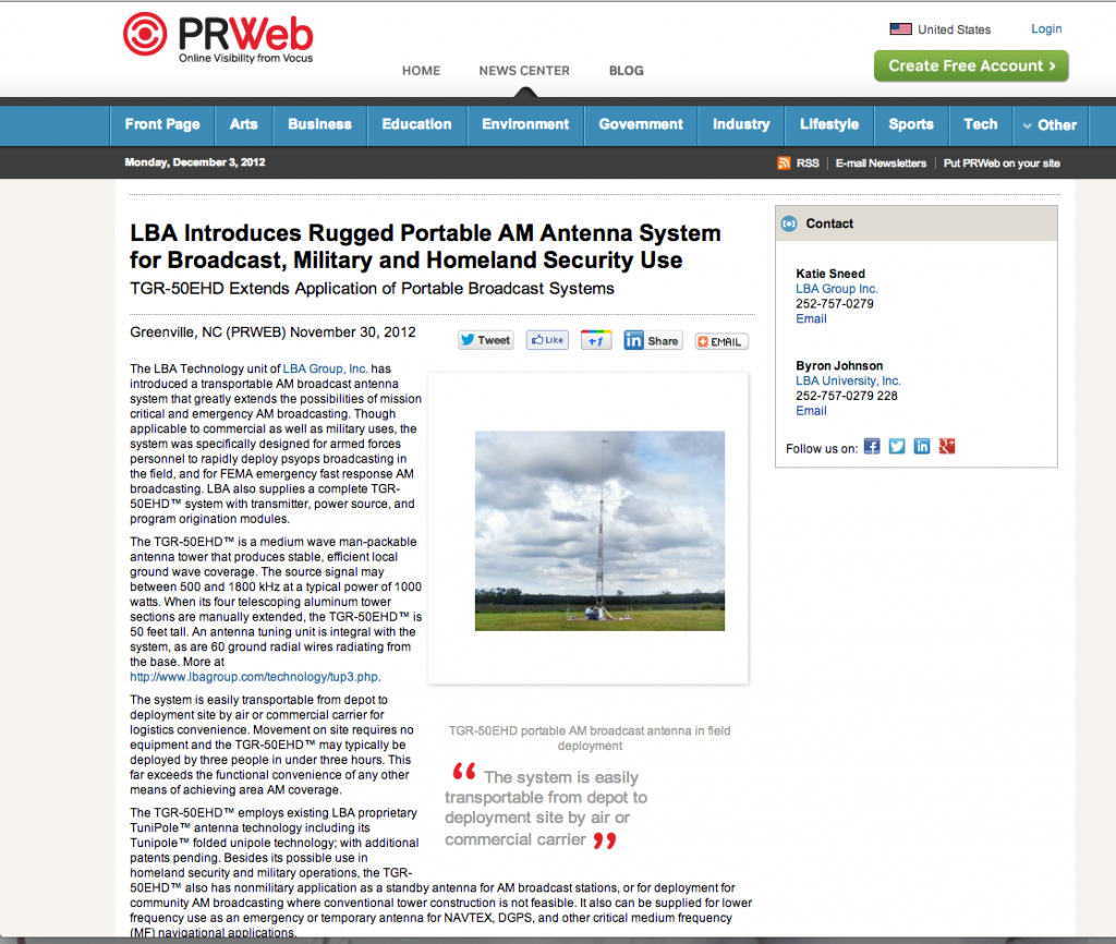 LBA Introduces Rugged Portable AM Antenna System for Broadcast, Military and Homeland Security Use