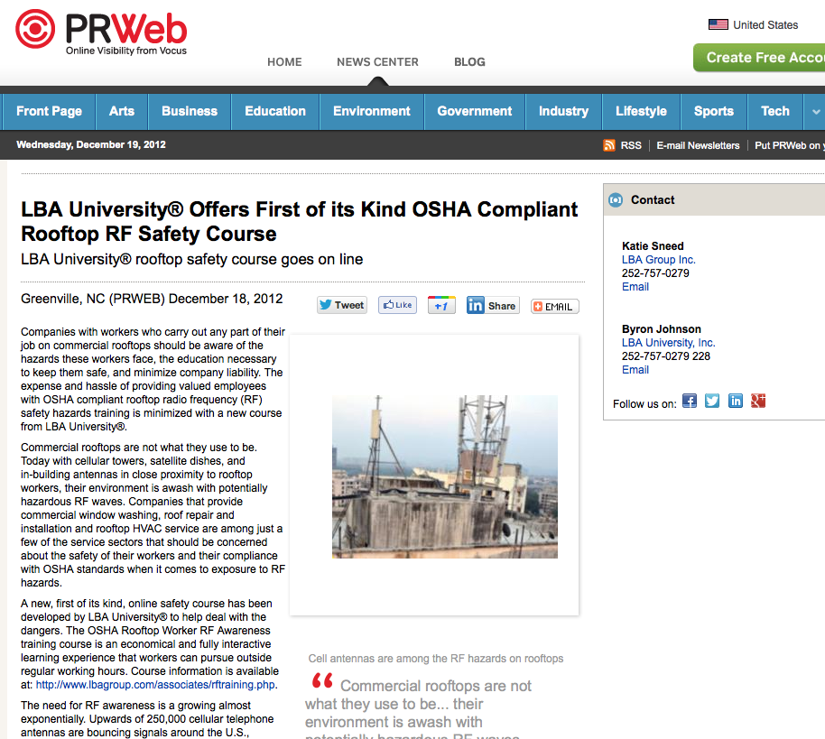 LBA University® Offers First of its Kind OSHA Compliant Rooftop RF Safety Course