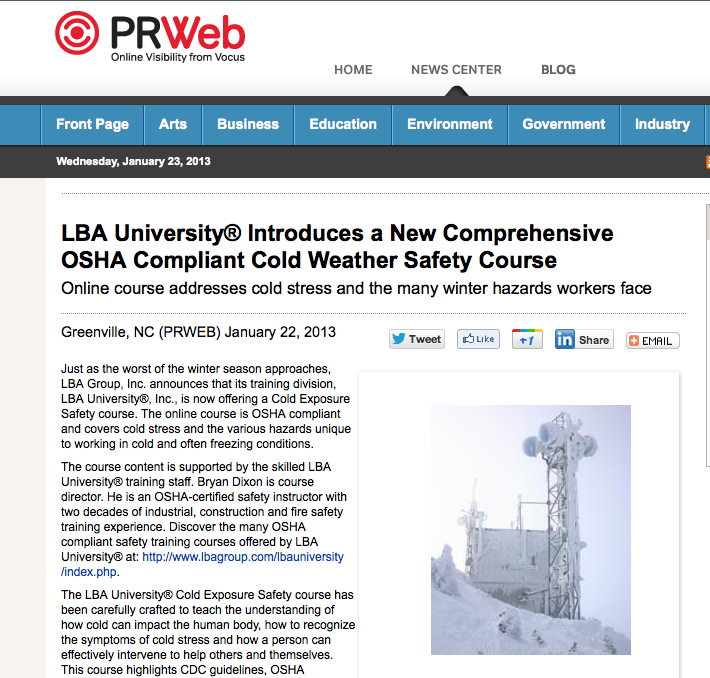 LBA University® Introduces a New Comprehensive OSHA Compliant Cold Weather Safety Course