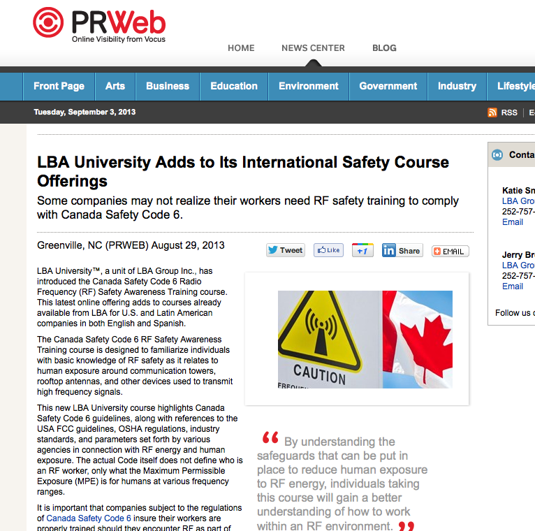 Canada Safety Code 6 Radio Frequency Safety Awareness Online Training course