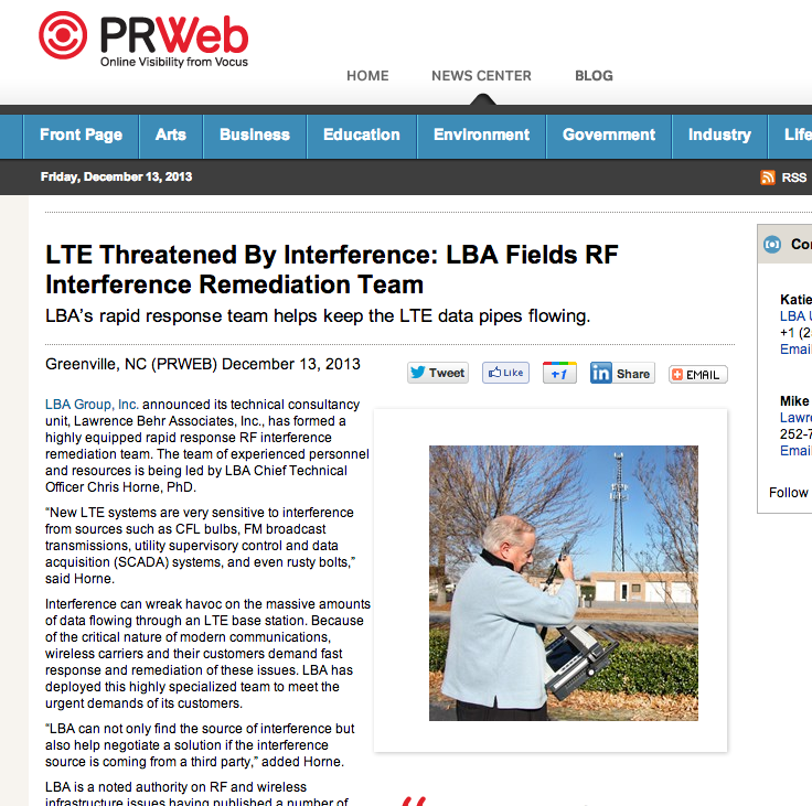 LTE Threatened By Interference: LBA Fields RF Interference Remediation Team