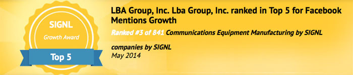 LBA ranked in the Top 5 for Facebook mentions growth by SIGNL.